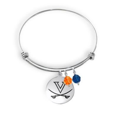 UVA Athletics University of Virginia Cavaliers Adjustable Bangle Bracelet with 2 charms - Stainless Steel