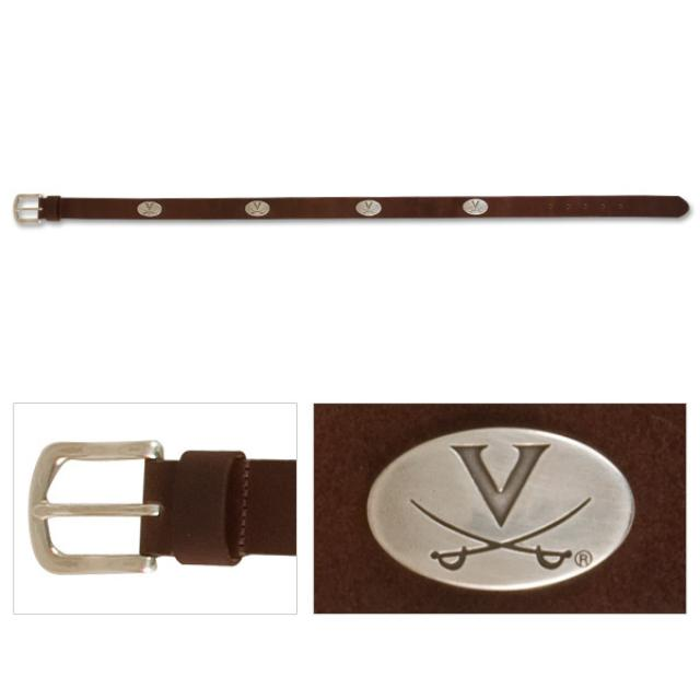 UVA Leather Emblem Brown Belt