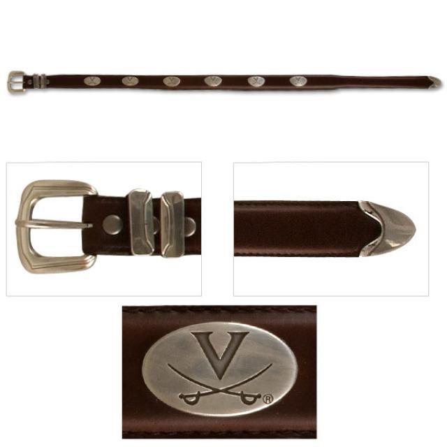 UVA Leather Western Tip Emblem Brown Belt