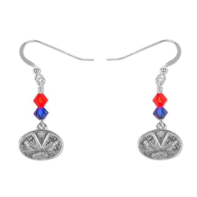 """UVA Sterling Silver Oval Charm Bicone Crystal 1"""" Earrings"""