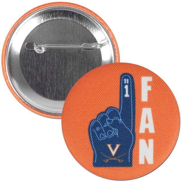 """UVA Foam Finger 2.25"""" Fabric Fan Button"""