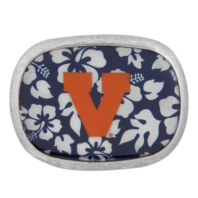 UVA Leather Retro Hibiscus Belt Buckle