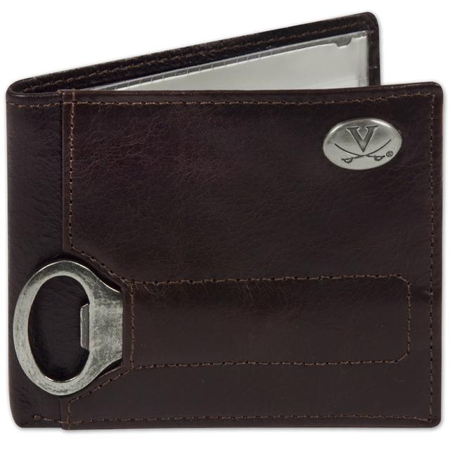 UVA Brown Leather Bottle Opener BiFold Wallet