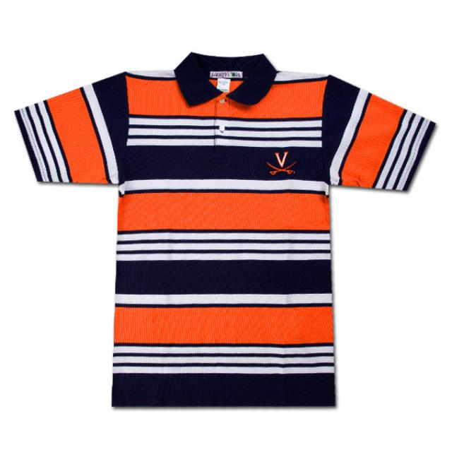 UVA Boys Striped Tri-Color Polo