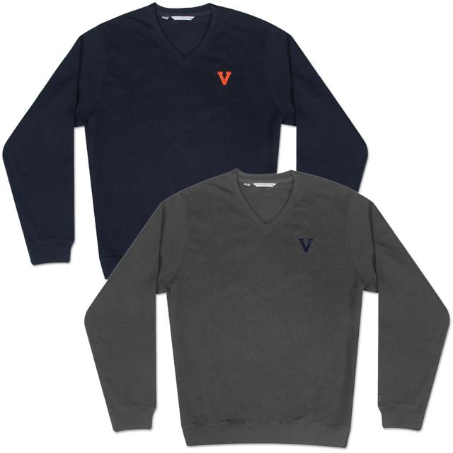 UVA Classic Logo Journey Supima Flatback V-Neck Sweater