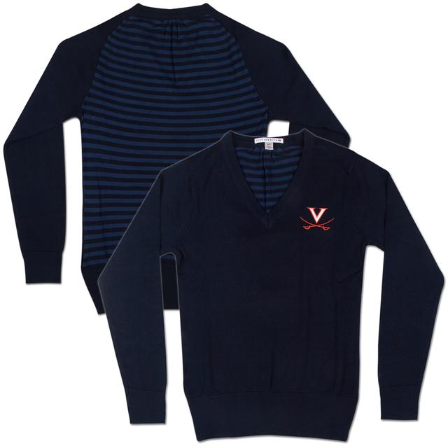 UVA Cutter & Buck Classic Logo Ladies Shout Out V-Neck Sweater