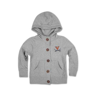 UVA Toddler Girls Autumn Wood Button Hoody