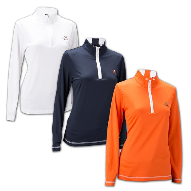 UVA Cutter & Buck Ladies Drytec Choice Half Zip Mock