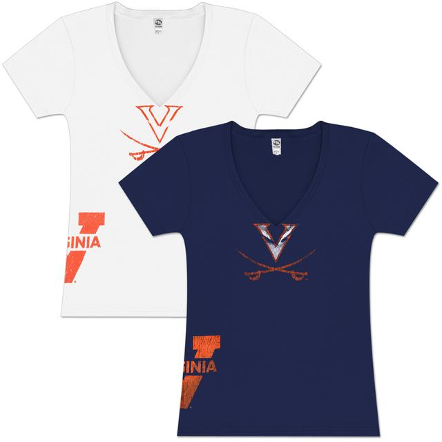 UVA Hippity Deep Ladies V-Neck T-shirt