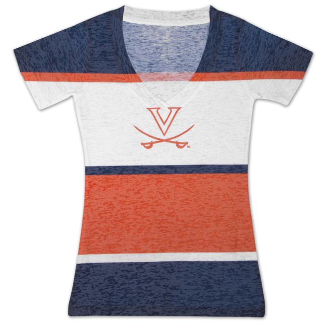 UVA Four Stripe Burnout V Ladies T-shirt