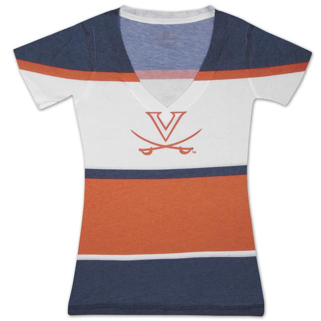 UVA Four Stripe Deep V Ladies T-shirt