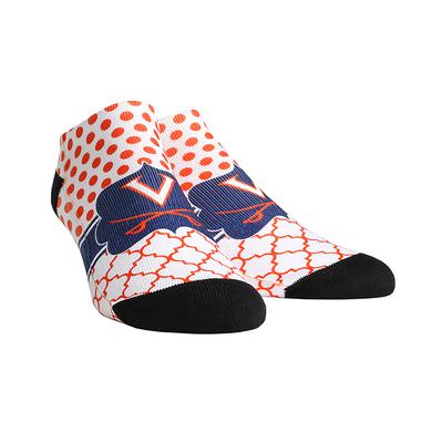 UVA Athletics University of Virginia Cavaliers Quatrefoil Dots Youth Womans Low Cut Socks