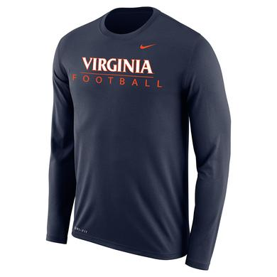 UVA Athletics University of Virginia Football Dri-Fit LS T-shirt