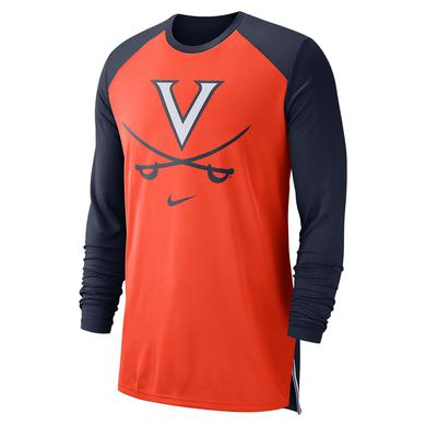 UVA Athletics University of Virginia 2018 Nike Orange Basketball Dri-Fit Long Sleeve T-shirt