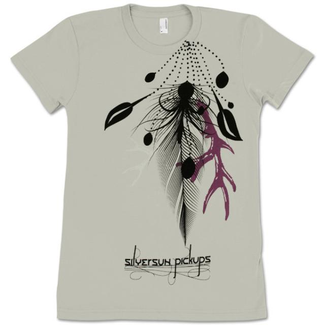 Silversun Pickups Feathers Silver Cap Sleeve Babydoll Tee