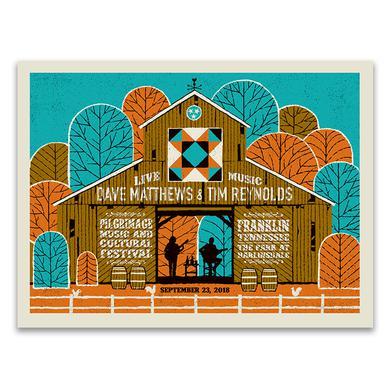 Dave Matthews Band Dave & Tim  Show Poster - Pilgrimage Music Festival  9/23/2018