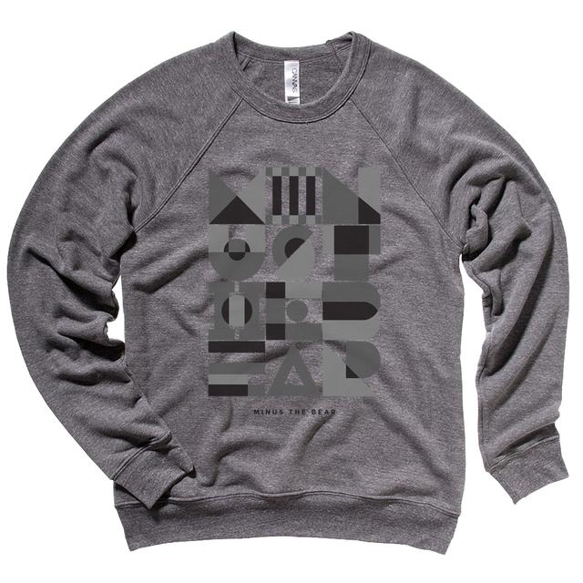 Minus The Bear Geometric Greyscale Unisex Crewneck Sweatshirt