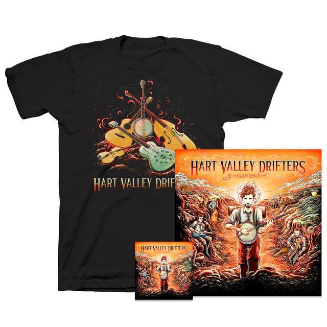 Jerry Garcia Hart Valley Drifters - Folk Time: CD, Poster & Organic T-Shirt Bundle