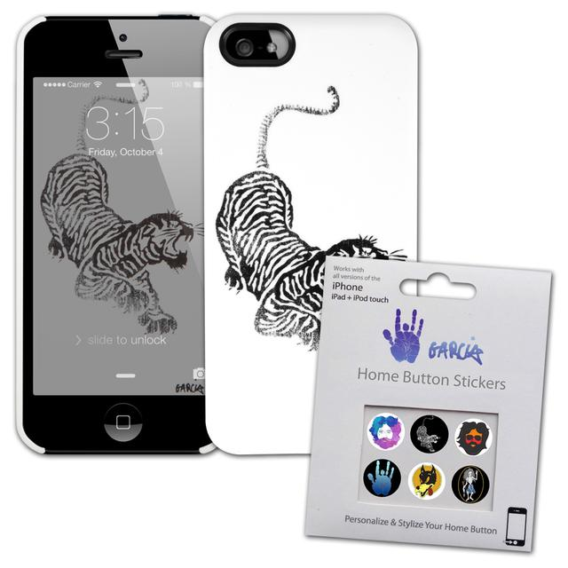 Jerry Garcia Black/White Tiger iPhone 5/5s Case & Home Button Decals Bundle