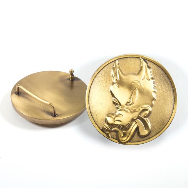 Jerry Garcia Wolf Brass Belt Buckle