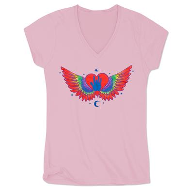 Jerry Garcia Heart & Wings Women's Organic V-Neck T-Shirt