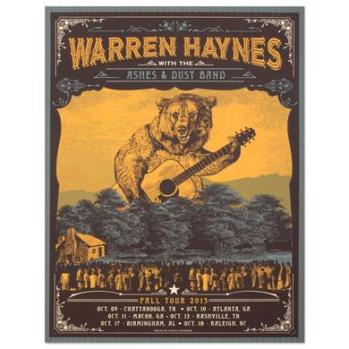 Warren Haynes Fall Tour 2015 Bear Poster