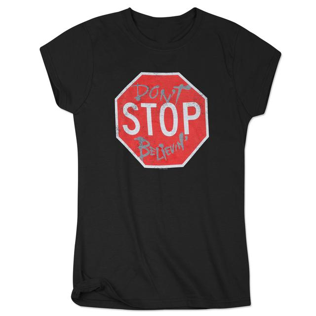 Journey 2015 Tour Ladies Stop Sign Don't Stop Believin' T-Shirt