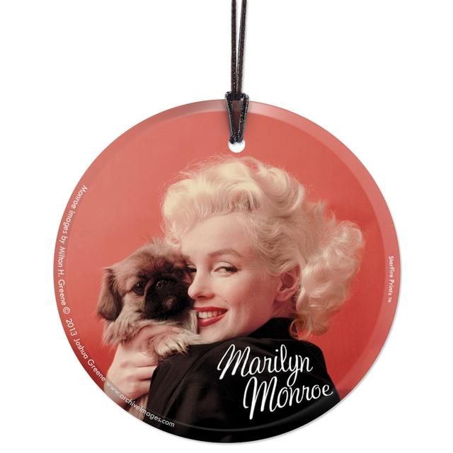 Marilyn Monroe Oriental Gown and Pekinese Hanging Glass Ornament