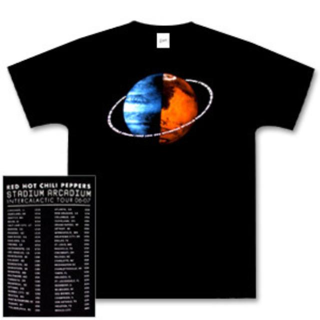 Red Hot Chili Peppers - Black Globe T-Shirt w/ 2nd Leg Dates