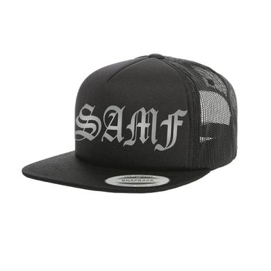 Spring Awakening Music Festival SAMF Old English Trucker Hat (Black)