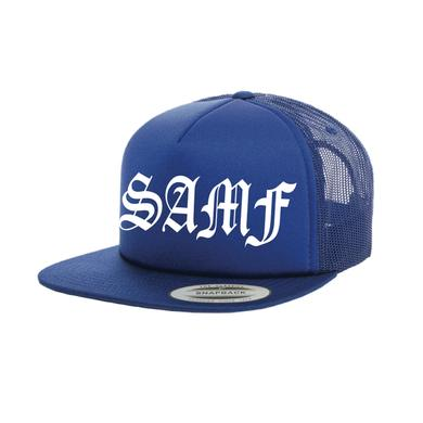 Spring Awakening Music Festival SAMF Old English Trucker Hat (Royal)