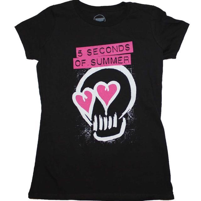 5 Seconds of Summer T Shirt   5 Seconds of Summer Pink Heartskull Junior's T-Shirt