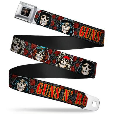 "Guns N' Roses Gun n Roses Cross Skulls Seatbelt Belt (24-38"")"