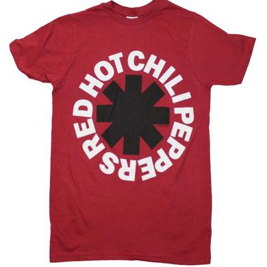 Red Hot Chili Peppers T Shirt | Red Hot Chili Peppers Black Asterisk Red T-Shirt