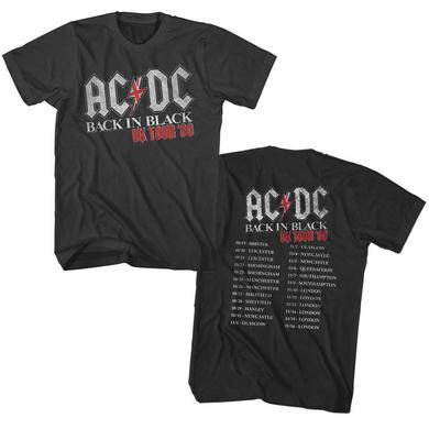 AC/DC T Shirt | AC/DC Back in Black UK Tour 1980 T-Shirt