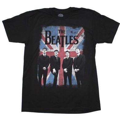 Beatles T Shirt | Beatles Distressed Union Jack Photo T-Shirt