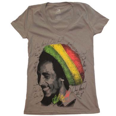 Bob Marley T Shirt | Bob Marley Rasta Tam V-Neck Junior's Tee