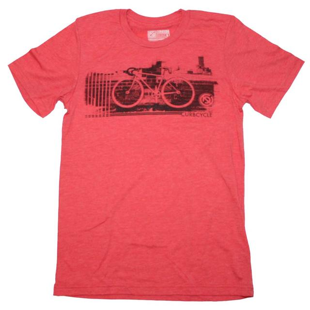 Designer Streetwear T Shirt | Curbside Clothing Curbcycle Black on Heather Red T-Shirt