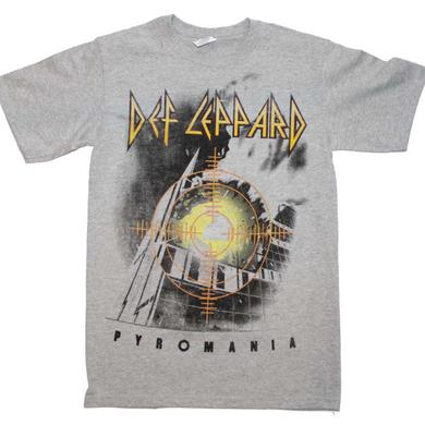 Def Lepaprd T Shirt | Def Leppard Target Pyromania Heather Gray T-Shirt