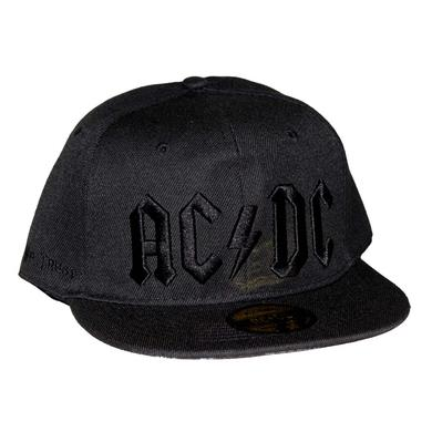 AC/DC Black on Black Logo Flat Bill Snapback Hat