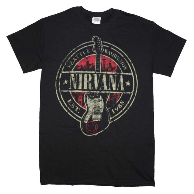 Nirvana T Shirt | Nirvana Established 1988 Guitar Stamp T-Shirt