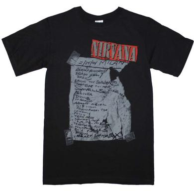 Nirvana T Shirt | Nirvana Milan Set List T-Shirt
