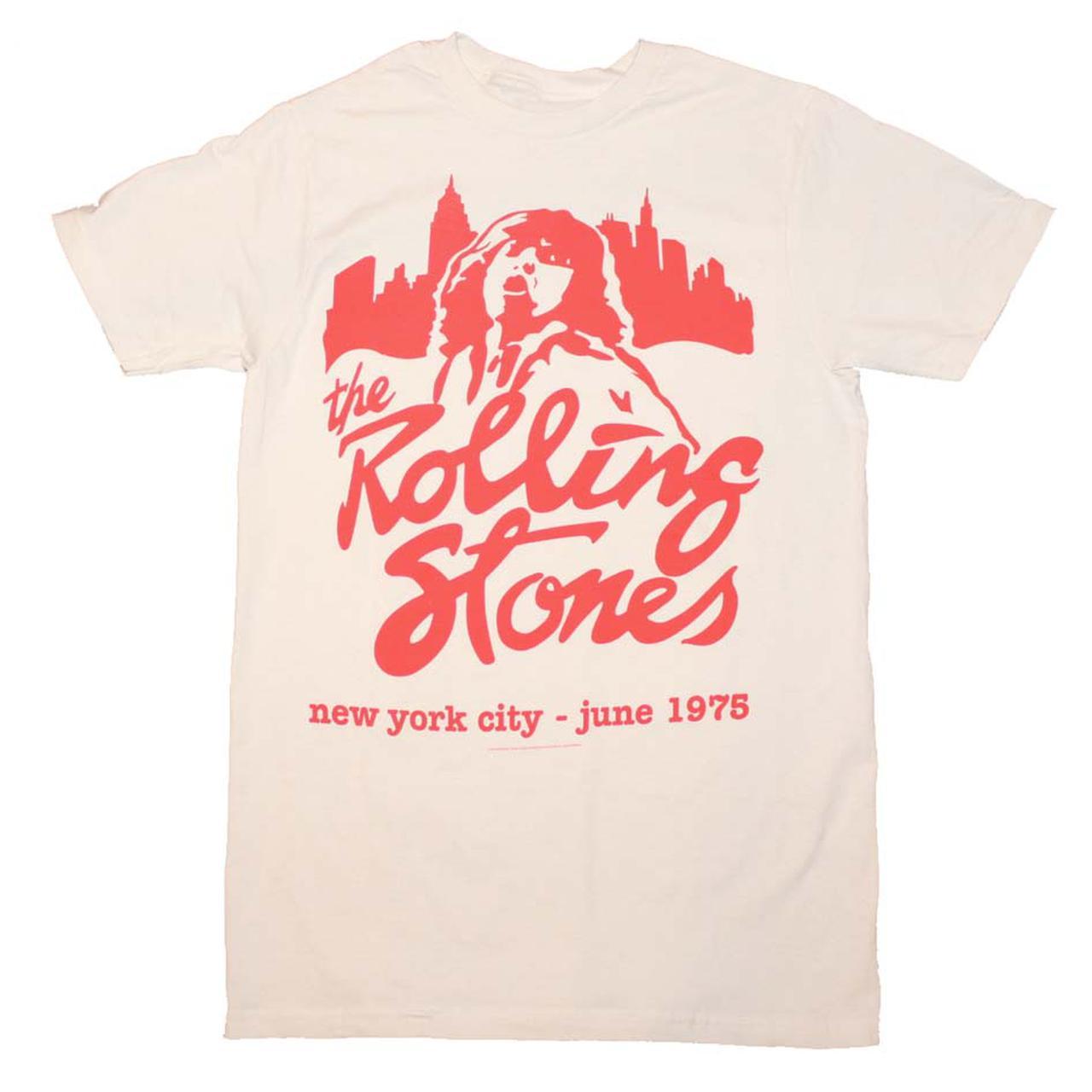 the rolling stones t shirt rolling stones mick june 1975. Black Bedroom Furniture Sets. Home Design Ideas