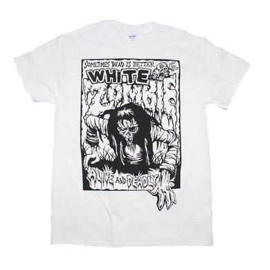 White Zombie T Shirt | White Zombie Alive and Deadly White T-Shirt
