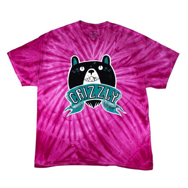 Crizzly Pink Tie Dye Logo T-Shirt