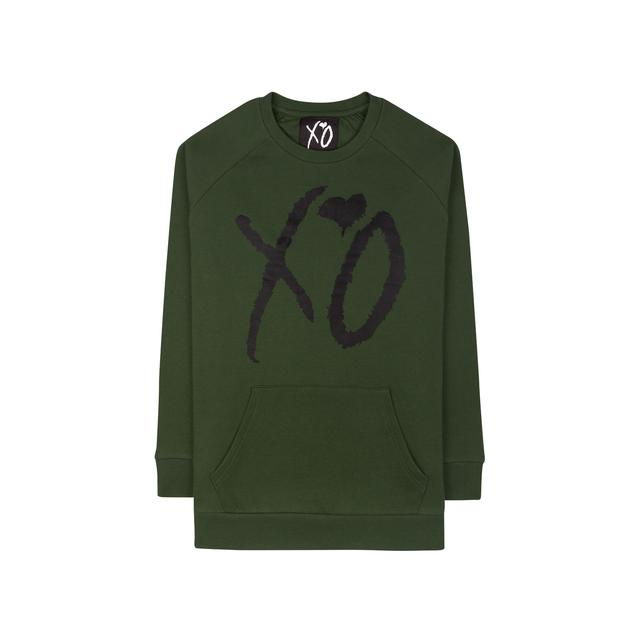 "The Weeknd XO ""CLASSIC LOGO"" HUNTER GREEN / BLACK CUT AND SEW UNISEX RAGLAN CREWNECK SWEATER"