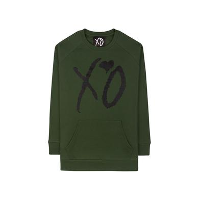 "The Weeknd XO ""CLASSIC LOGO"" HUNTER GREEN / BLACK CUT AND SEW UNISEX RAGLAN CREWNECK SWEATER"