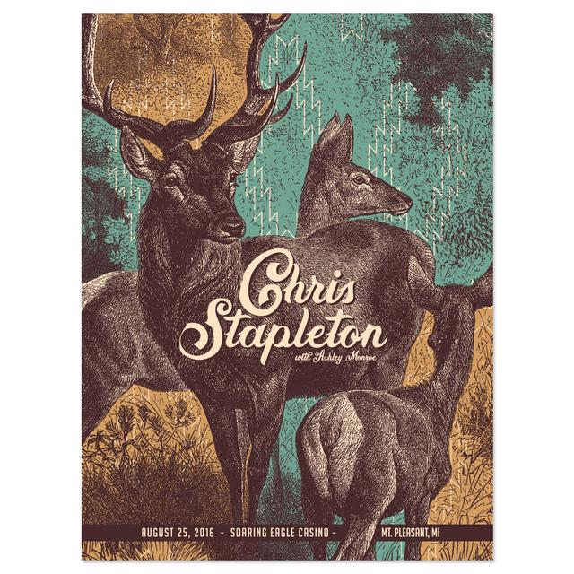 Chris Stapleton Show Poster – Mt. Pleasant, MI 8/25/16