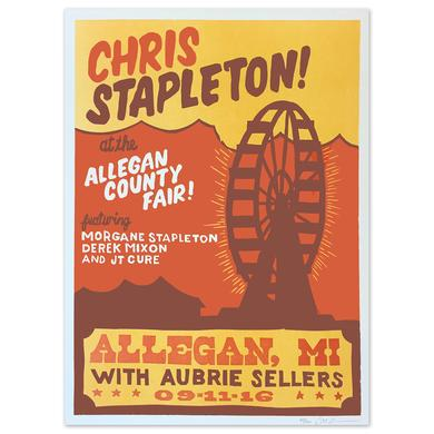 Chris Stapleton Show Poster – Allegan, MI 9/11/16