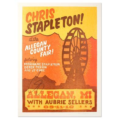 Chris Stapleton Signed Show Poster – Allegan, MI 9/11/16